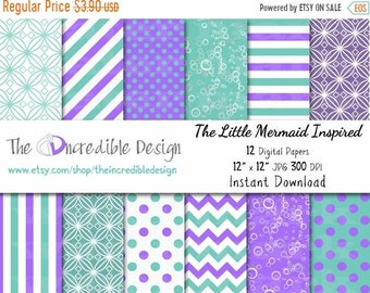 ON SALE The Little Mermaid Inspired digital paper pack for scrapbooking, Making Cards, Tags and Invitations, Instant Download