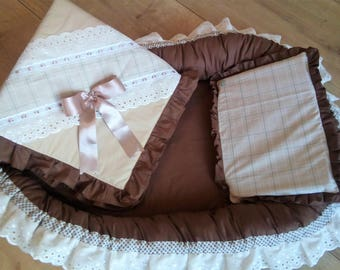 Babynest Bruin/Bege with Blanket and Pillow