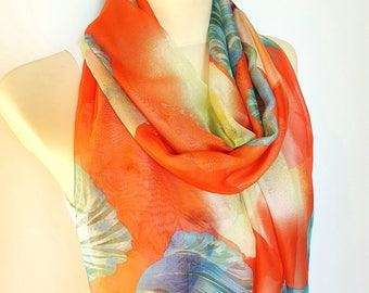 Large Silk Scarf Women Orange Silk Scarves for Women Silk Scarfs Blue and Orange Scarf Women spring Scarf Summer Gift for Mother Outdoor