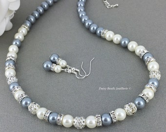 Gray Pearl Necklace Bridesmaid Necklace Bridesmaid Gift Grey Necklace Wedding Jewelry Mother of Groom Jewelry Mother of Bride Gift Idea