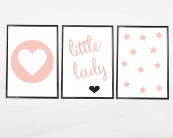 Set of 3 Gallery Wall Art Prints | Little Lady Baby Girl's Room Decor Stars and Heart Kids Room Nursery | Light Pink & White Pictures Gift