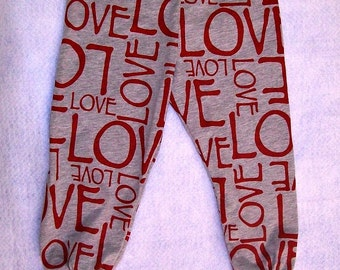 LOVE - Red and Gray Knit Leggings -  Red and Gray -  LOVE - Size 3T