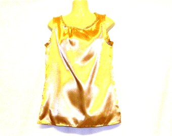 Shopping, Clothes,Gold Top - Vest Top - Sleeveless Top - Satin Top - Size 12 - Size 10 - By Rebeccas Clothes