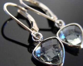 Bezel Set Green Amethyst Briolette Sterling Silver Leverback Earrings