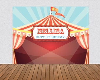Printable Carousel Carnival Banner Circus Birthday Party Backdrop any age Digital File3