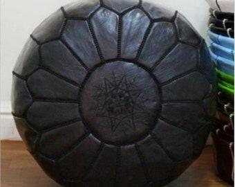 PREMIUM Genuine Leather Moroccan Pouf Pouffe - BLACK