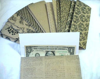 Cash Envelopes, Budget, Planner Inserts, Planner Accessories, Envelopes, Teacher Gift, Graduation Gift, Vintage Style, Hand Stitched, 7 Inch