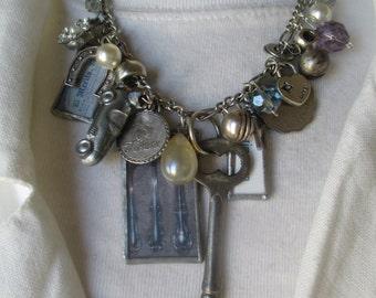 Soldered Charm, Glass Pendant, Charm Necklace Charmed Vintage CAR AND KEY