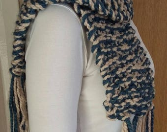 Hand knitted super soft super chunky blue and white scarf with fringe