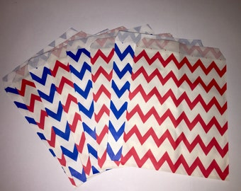 Set of 12 Red and Blue Chevron  Treat Bag, Candy bag, Party favor bag, Cookie Candy Bag