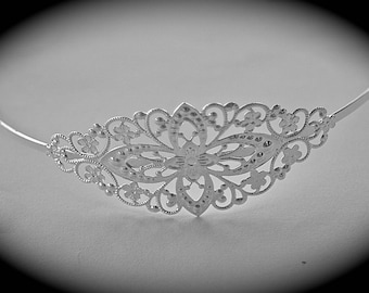 x 1 headband brass engraved silver metal flower 78x35mm model