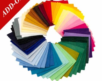"Premium Wool Blend Felt Sample Bag - 3"" x 3"", 66 Pieces Included, Add-On Item"