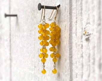 Yellow Earrings - Chalcedony Gemstone Jewellery - Gold Jewelry - Cluster - Dangle - Fashion