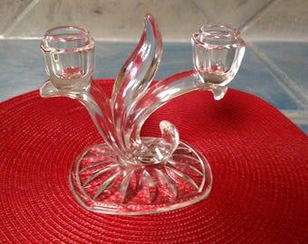 Vintage Glass Double Candleholder