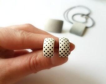 Black and white polka dot earrings, Dot earrings minimalist, White stud earrings, 80s earrings, Black and white earrings, Cute stud earrings