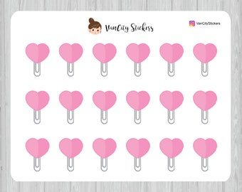 Pink Heart Paper Clip Stickers