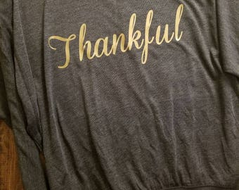 Thankful off the shoulder shirt great for Thanksgiving and anytime