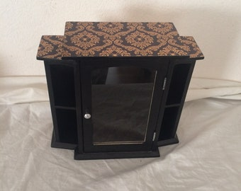 Gothic Victorian Black and Gold Spiders Small Wall Curio Shelf