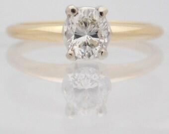 0.47 Carat Oval Cut Diamond Engagement Ring 14K Yellow Gold