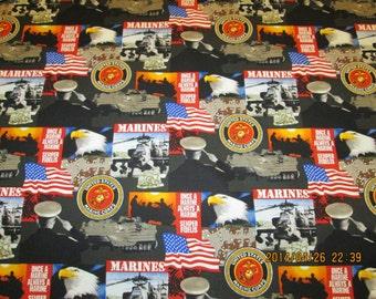 "UNITED STATES MARINES   Pattern  Fabric 1  Yard - 100% Cotton ""Hard To Find"""