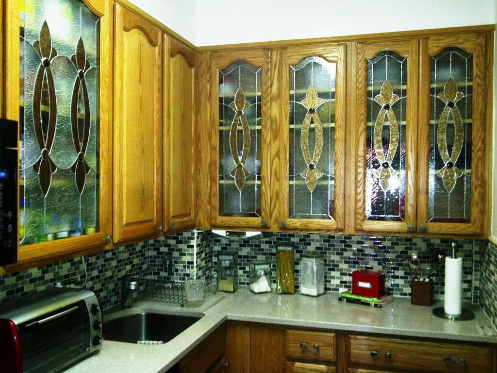 Elegant Stained Glass Custom Kitchen Cabinet Inserts CI-2