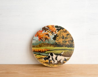 Circle Paint by Number Art Block 'Hunting Dogs' - bird hunting, autumn color, vintage art