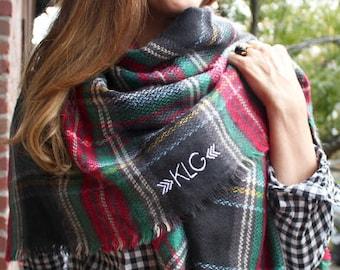 Monogrammed Blanket Scarf - Black Tartan