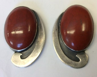 Red Jasper Sterling Shadowed Earrings, signed Jean