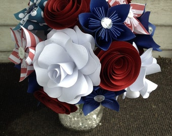 Paper flower bouquet, patriotic flowers, red white blue, wedding flowers, anniversary gift, happy birthday, get well soon