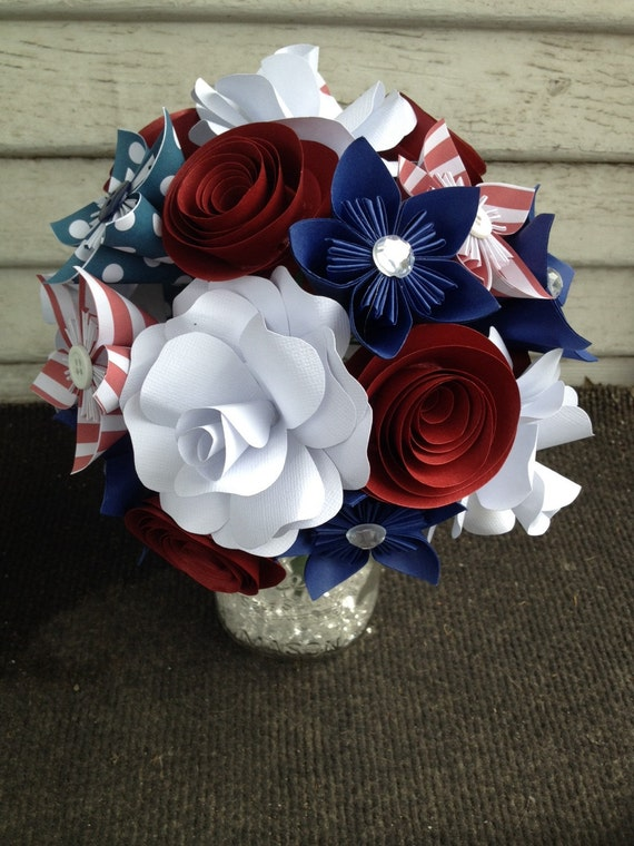 Paper flower bouquet patriotic flowers red white blue