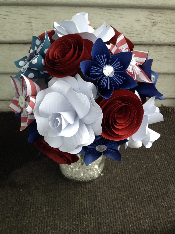 Paper flower bouquet patriotic flowers red white blue zoom izmirmasajfo Gallery
