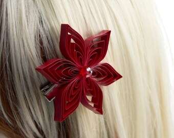 Red Hair Clip, Red Flower Hair Accessory, Red Hair Accessory, Apple Wedding