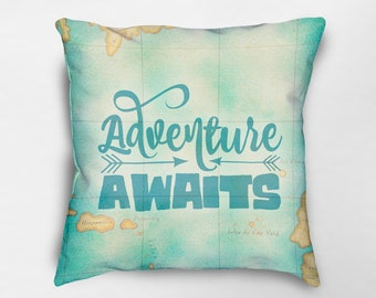 Adventure Awaits Pillow, Inspirational Pillow, Cabin Pillow, Travel Quote Pillow, Nursery Pillow, Dorm Pillow, First Apartment Gift