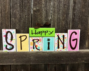 Spring wood block, Happy Spring blocks, Spring Decor