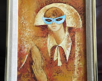 Vintage Mid Century Modern Painting Iconic 60s Image of Woman with Blue Mask Harlequin Jester Style