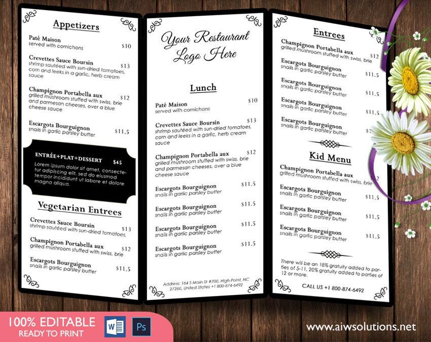 Trifold Coffee MenuTemplates Drink Menu Template Wedding - Bar drink menu template free