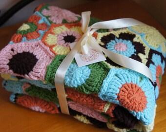 Throw Blanket ,Crochet blanket,Crochet Afghan,handmade blanket -Colorful Spring Flowers under the sunshine. /Afghan