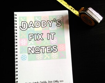 Personalised Fix It Lined Notebook, gift for Dads, Step Dads, Mums, Grandparents
