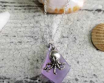 Sea glass & octopus charm silver plated chain necklace // purple sea glass with starfish necklace // starfish jewelry // sea glass jewelry
