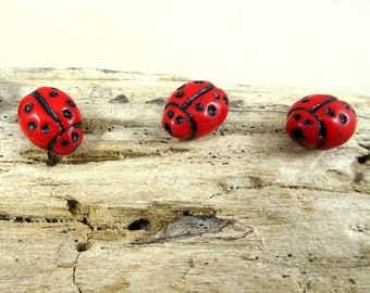 Lady Bug Beads, Czech Glass Ladybug Beads, Red Lady Bugs, Red and Black Beads, Czech Glass Beads, Czech Beads, (MISC/RJ-2516) Qty. 12