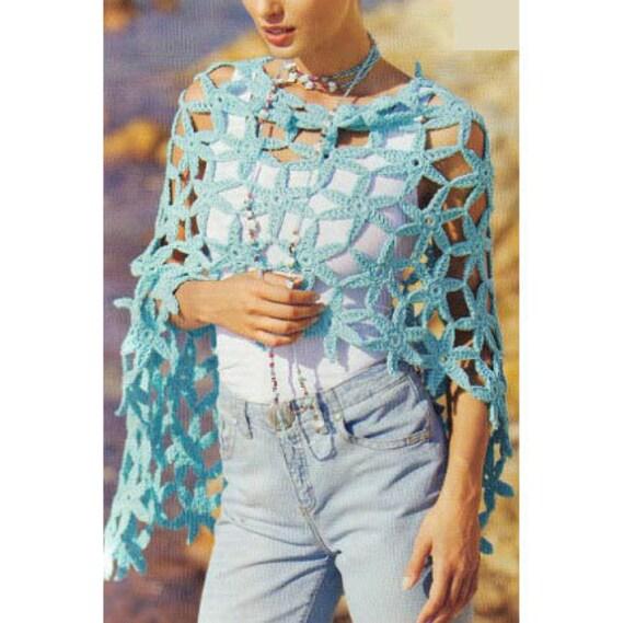 Crochet Shawl Patterncrochet Flower Shawlcrochet Poncho