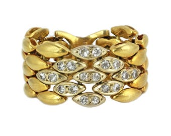 0.20ct Round Diamond 18K 2Tone Gold Pebbled Mesh Link Ring - Size 6.5 RESIZABLE