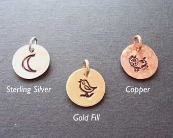 Add-on Design Stamp Charm- Copper Sterling Silver Gold Fill Charm- Hand Stamped Design Symbol - S236