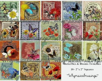 Digital Collage Sheet~ DIY~ Butterflies & Blooms Twinchies~ Instant Download