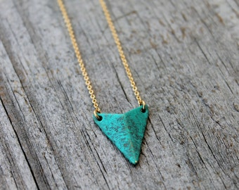 Gold Triangle Necklace, Turquoise Triangle Necklace, Minimalist Jewelry, Dainty triangle, Dainty gold Necklace, Triangle Pendant Necklace