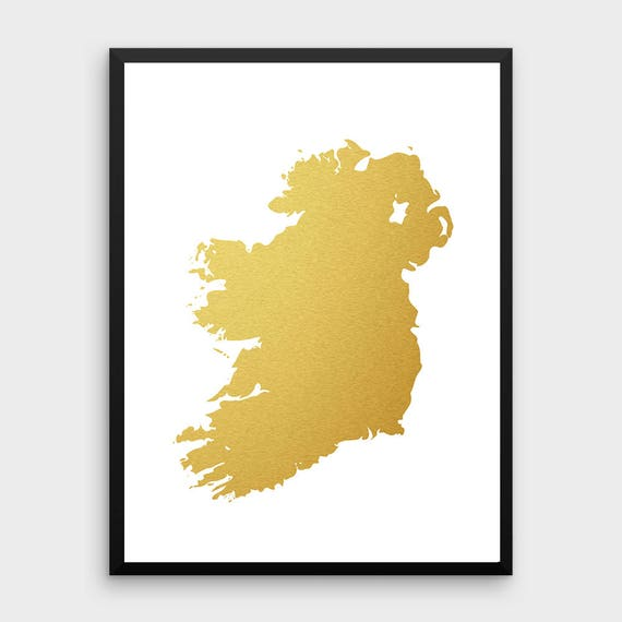 Gold Foil Ireland Map Printable Map Wall Art Ireland Map