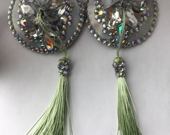 Menthe - Handmade burlesque pasties, rhinestone with tassels, crystal AB/silver/light green