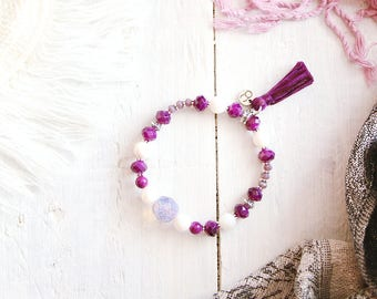 Aladdin bracelet, elastic wire, silver, purple, mauve and white beads, pompon, Arabian Nights, for women