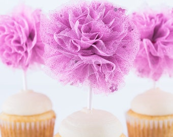 Pink Confetti Tulle Pom- Limited Edition- Pink pom pom - Pink tulle pom- Pom pom- Tulle pom- Valentine's Day-Cupcake topper