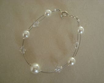 Bridal bracelet double white and transparent beads